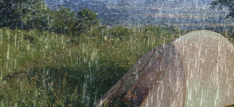Vattenpelare och tält