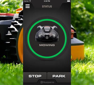 styr robotgräsklippare med hjälp av en app